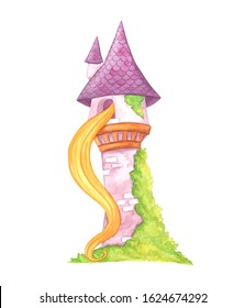 Watercolor illustration, magical fairytale tower of Princess Rapunzel isolated on a white background. Colorful beautiful drawing of a tower, from the window of which hair hangs. Flat children's style.