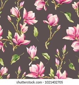 Watercolor illustration of a magnolia, pattern of flowers for your design. This illustration can be used as background, wrapping paper etc