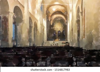 watercolor illustration: Main room of the Braunschweig Cathedral with the colonnades, the altar and the merciful chandelier, empty seating, no church service