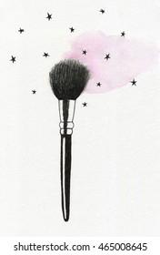 Watercolor illustration of makeup brush.