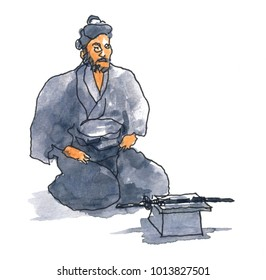 Watercolor illustration of a male who are going to act Harakiri or suicide with honour