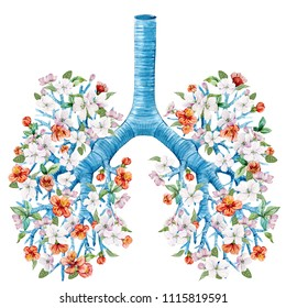 Watercolor illustration of a man's lungs with flowers, bronchial tree, healthy lungs, watercolor spring print,  green leaves