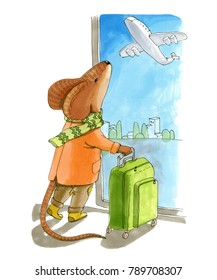Watercolor illustration. The mause with scarf holding the suitcase near the window in the airport