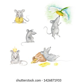 Watercolor illustration  mause\rat, funny mouse, Year of the Rat 2020