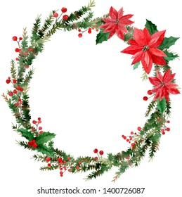 Watercolor illustration of Merry Christmas wreath, red berries and green tree branches, poinsettias isolated on white background.