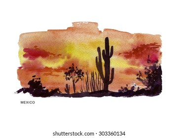 Watercolor illustration of Mexico sightseeings with text place. Good for warm memory postcard design, any graphic design or book illustration.