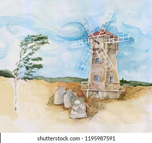 Watercolor illustration of a mill in the field.