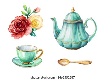 watercolor illustration, mint green teapot and cup, gold spoon, red and yellow roses, clip art elements set isolated on white background