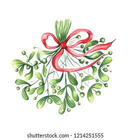 Watercolor illustration of mistletoe sprigs with red ribbon on white background. Christmas decoration