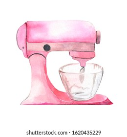 Watercolor illustration. Mixer drawing for mixing ingredients. Tool for a pastry chef for baking, dough, cream, etc. An element for creating a design.