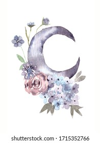 Watercolor illustration. Moon, bouquet of roses and fir branches. Crescent moon with flower composition. Trendy Bohemian style illustration with hydrangea, rose and eucalyptus. Tribal vibes print.