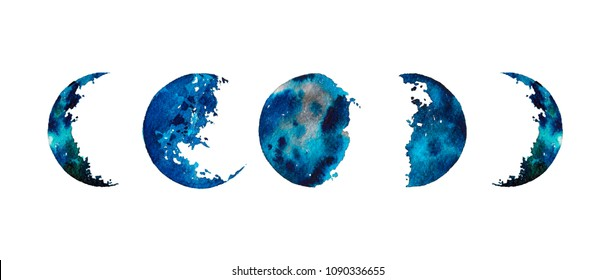 Watercolor illustration: moon phases isolated on white background. Hand painted space design.