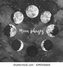 Watercolor illustration: moon phases on dark galaxy background. Hand painted space design.