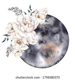 Watercolor illustration with moon and white flowers. Moon phase, isolated on white background