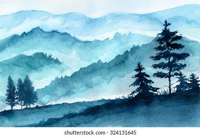 Watercolor illustration. Mountains landscape, trees, sky.