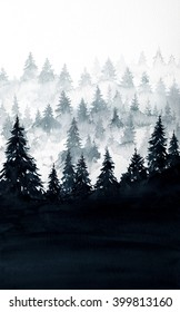 Watercolor illustration. Mountains landscape, trees.
