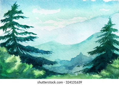 Watercolor illustration. Mountains, trees, sky.