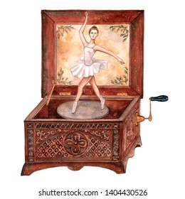 Watercolor illustration of music box with ballerina