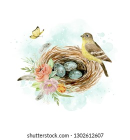 Watercolor illustration.  Nest with eggs, bird, yellow butterfly, bouquet of flowers and feathers on white background. Romantic theme. Composition for design. Greeting card, postcard, poster