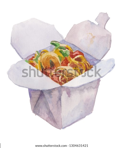 Watercolor illustration noodle box. Chinese food, Wok rice