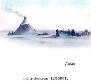 Watercolor illustration of north landscape and native people