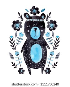 Watercolor illustration. Nursery poster in scandinavian style with bear.