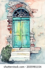 Watercolor illustration of an old arched wooden door painted in  turquoise paint under a withered red brick arch