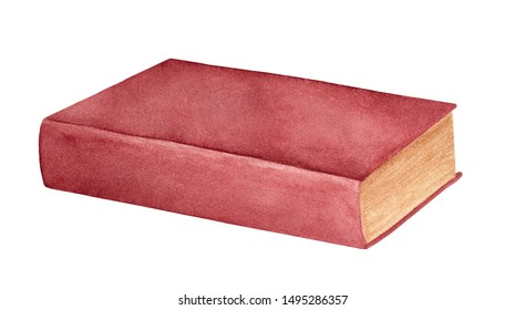 Watercolor illustration of old closed book with dark red cover. One single object, side view. Handdrawn watercolour sketchy painting on white background, cutout clip art element for design decoration.