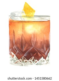 watercolor illustration of old fashioned cocktail