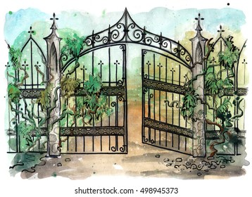 Watercolor illustration of old gothic gate. Evening scene of magical gate. Hand drawn illustration. Watercolor painting