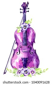 Watercolor illustration. Old violin with pansy flowers. Antique object. Music spring collection in violet shades. ClipArt, DIY, scrapbooking elements. Holiday Decoration.