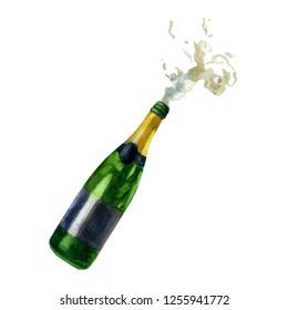Watercolor illustration. Open bottle of champagne pouring foam.
