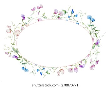 watercolor illustration oval frame of flowers