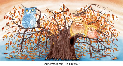 Watercolor illustration of owl family on a tree. A fairy tale illustration.
