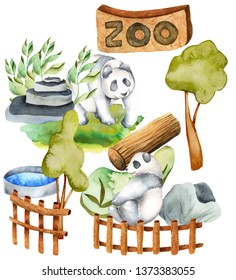 Watercolor illustration of pandas at the zoo, isolated scene hand drawn on a white background