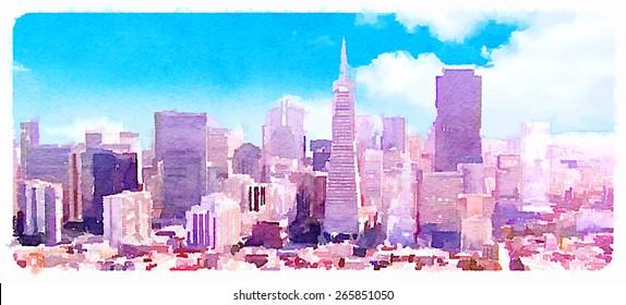 watercolor illustration panoramic san francisco view