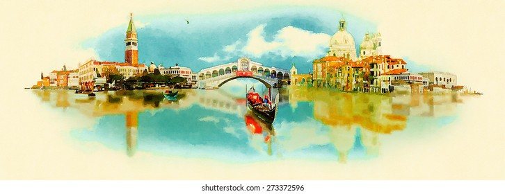 watercolor illustration panoramic venice view