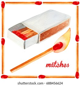 Watercolor illustration of paper box of matches with burning match and decorative frame isolated on white background