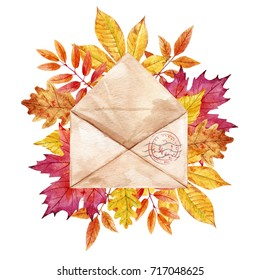 Watercolor illustration of a paper retro envelope with print and autumn leaves. yellow-red leaves of birch, maple, chestnut, oak