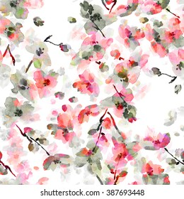 watercolor illustration pattern of spring cherry blossom - P