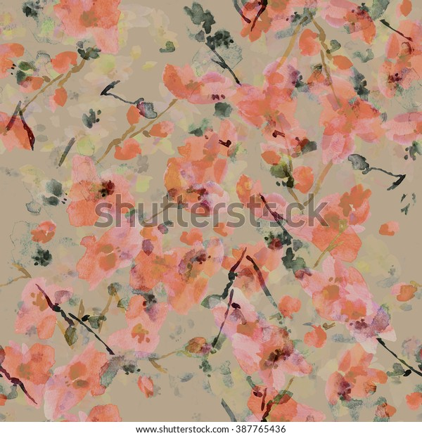 watercolor illustration pattern of spring cherry blossom - D