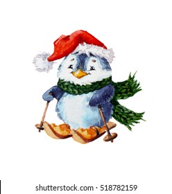 watercolor illustration with penguin; christmas decoration