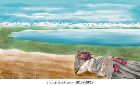 Watercolor Illustration of pilgrim prostrating and worshiping on the dirt road beside the holy lake. Mountain ranges in the background. A religious landscape background.