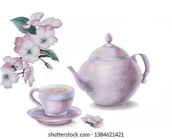 Watercolor illustration in pink colors with a cup of tea,  teapot and blooming twig of cherry. Gentle greeting card, invitation for your design.