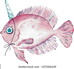 Watercolor illustration of pink fish with a horn on the head and a dream to be a unicorn isolated on white background.