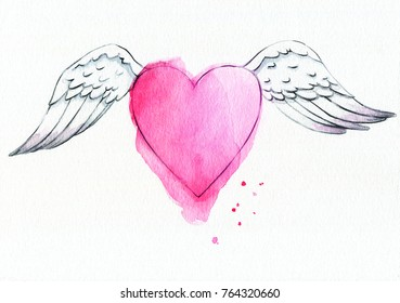 Watercolor illustration of a pink heart with wings.