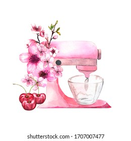 Watercolor illustration. Pink mixer to create a cream, dough with cherry flowers and berries. Flower arrangement with a pink mixer for a pastry chef.
