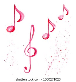 Watercolor illustration with pink musical notes and treble clef