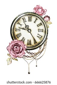 watercolor illustration with pink roses, chain,  clock. Gothic background with flowers. Cool print on T-shirt, Tattoo. Vintage