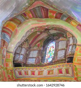 watercolor illustration: pipes of the organ and a colorful window with a glass mosaic in the protestant cathedral